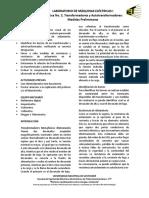 Practica 2. Transformador y Autotransformador Medidas Preliminares