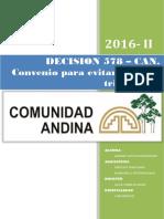 DESICION 578- CAN- Convenio para evitar la doble tributación