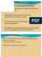 Contributions of Classical Theory of Management