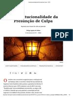 Thiago Aguiar de Pádua - Inconstitucionalidade Da Presunção de Culpa