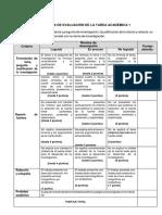 Rúbrica de La Tarea Académica 1 - 2018-3 (1)