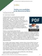 André Karam - Conjur a Filosofia No Direito e as Condições de Possibilidade Do Discurso Jurídico