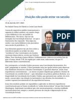 Lênio Streck, Rafael Tomaz - ConJur - Por Que a Constituição Não Pode Estar Na Sessão de Periódicos