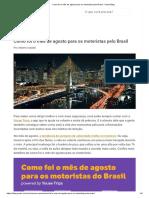 Como Foi o Mês de Agosto Para Os Motoristas Pelo Brasil - Youse Blog