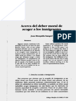 Acerca del deber moral de acoger a los inmigrantes