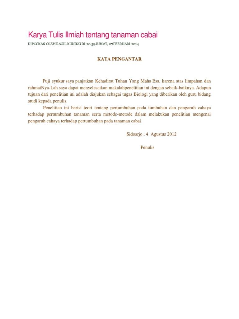 Karya Tulis Ilmiah Tentang Tanaman Cabai
