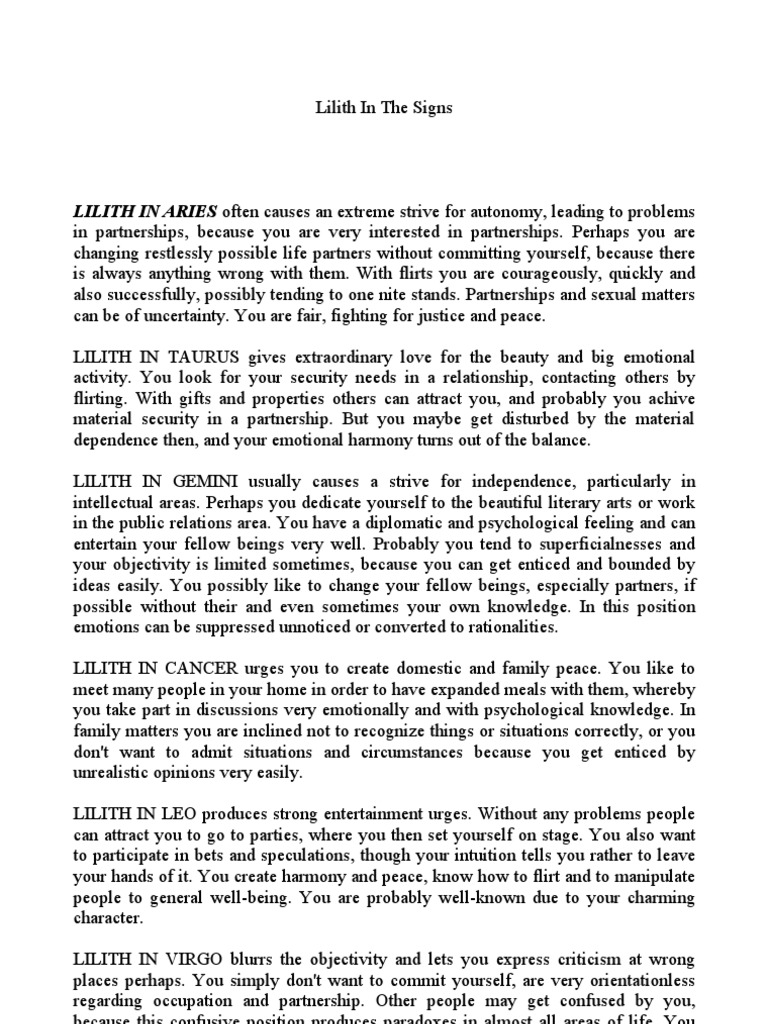 Lilith in the Signs and Houses | Lilith | Moon
