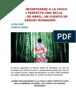 SOBRE ENCONTRARSE A LA CHICA 100% PERFECTA UNA BELLA MAÑANA DE ABRIL, UN CUENTO DE HARUKI MURAKAMI