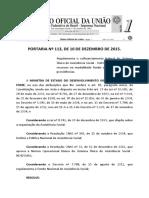 Portaria MDS 113 - 10.12.2015