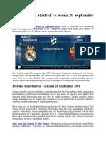 Prediksi Real Madrid vs Roma 20 September 2018