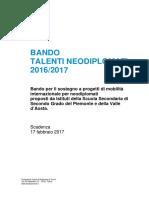 2017 Talenti Neodiplomati Bando