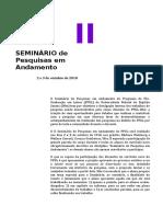 Orientações Para o II Seminário de Pesquisas Em Andamento PPGL 2018