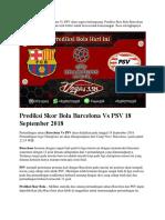 Prediksi Skor Bola Barcelona vs PSV 18 September 2018