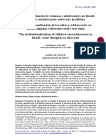 A Institucionalização de Crianças e Adolescentes No Brasil