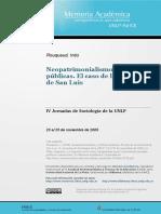 Neopatrimonialismo y Políticas Publicas. El Caso de La Provincia de San Luis.