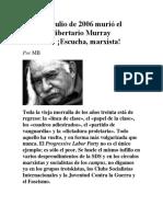 Un 30 de Julio de 2006 Murió El Socialista Libertario Murray Bookchin-Escucha Marxista