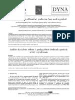 Analisis de Ciclo de Vida de La Produccion de Biodiesel a Partir de Aceite Vegetal Usado