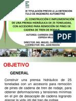 Tema_ Diseño, Construcción e Implementación de Una Prensa Hidráulica de 25 Toneladas, Con Accesorio Para Remoción de Pines de Cadena de Tren de Rodaje