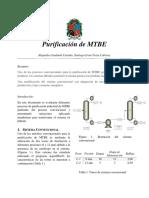 Purificación de MTBE
