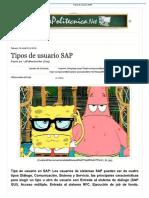 Tipos de Usuario Sap