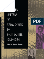 Selected Letters of Ezra Pound to John Quinn [ed. Materer]