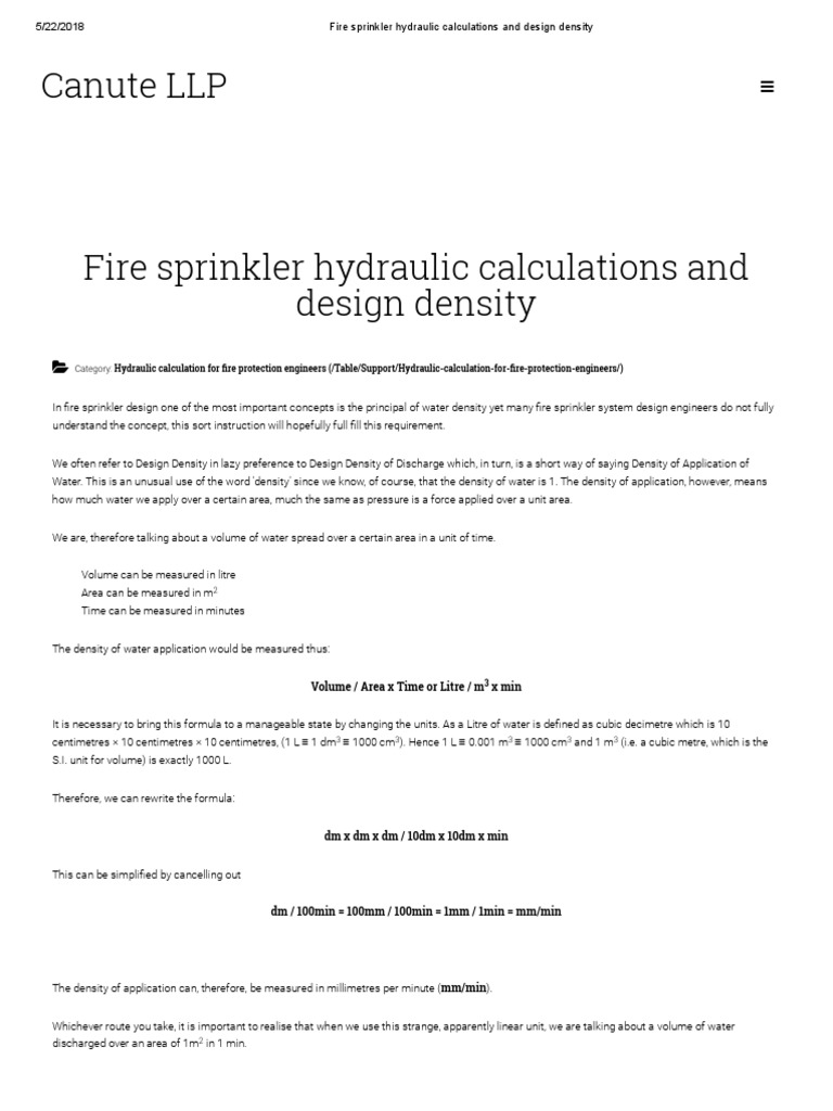 4fire Sprinkler Hydraulic Calculations And Design Density Litre Fire Sprinkler System Free 30 Day Trial Scribd