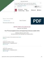 MATEC Web of Conferences