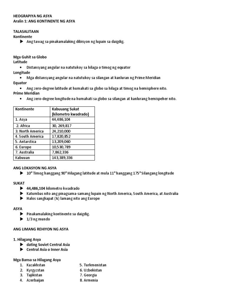Aralin 1-Kontinente Ng Asya Handouts