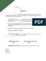 Affidavit to Maintain Productivity