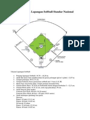 Gambar Ukuran Lapangan Softball Standar Nasional Internasional