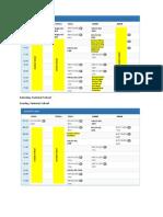 Schedule During Summer School