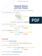 Remainder Theorem and Factor Theorem