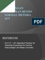 Rancangan Campuran Beton Normal Metoda Aci