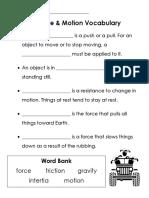 force motion vocabulary cloze wordbank