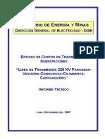 """Estudio de Costos de Transmisión y Subestaciones _ """"Línea de Transmisión 220 Kv Paragsha-Vizcarra-conococha-cajamarca-carhuaquero"""""""