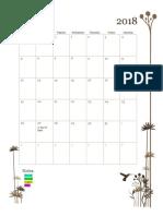 monthly calendar - fall 2018  1