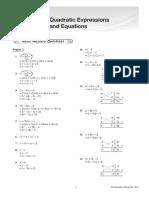 Quadratic Expression and Equations
