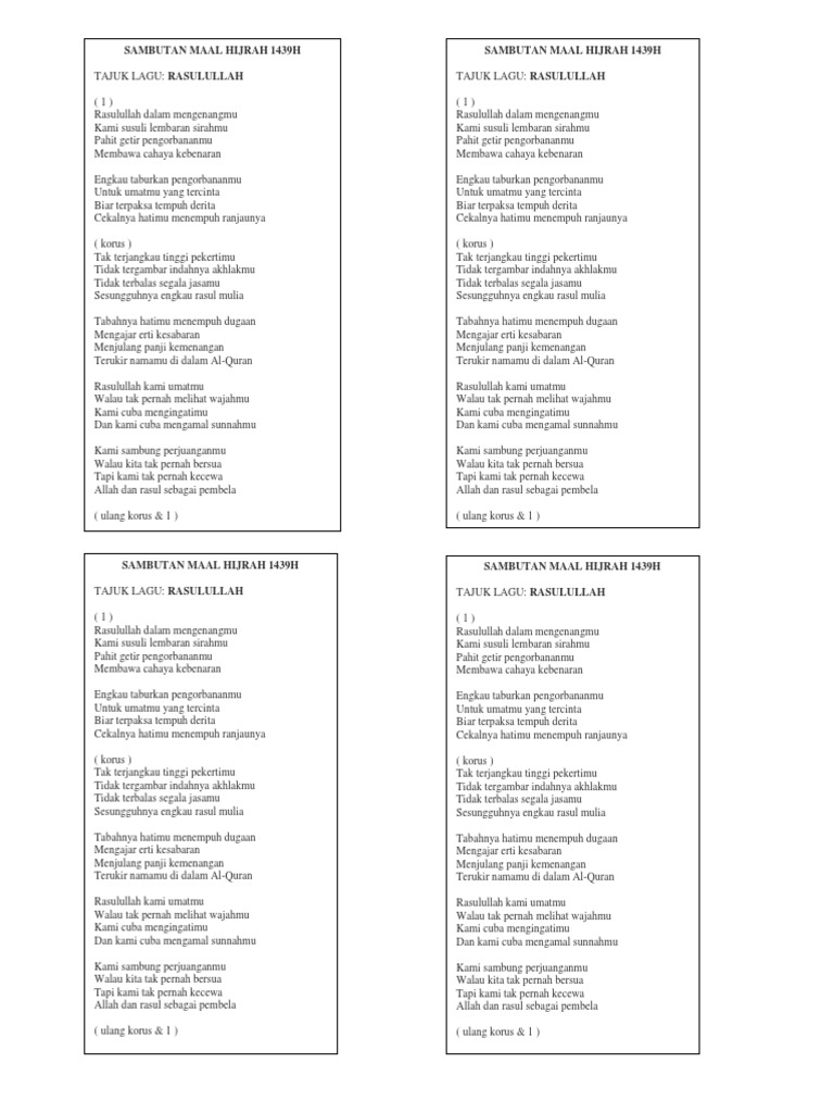 Lagu Nasyid Maal Hijrah 2017 Docx