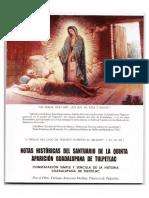 Notas Históricas del Santuario de la Quinta Aparición Guadalupana de Tulpetlac
