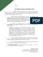 Affidavit of Cancellation of Adverse Claim