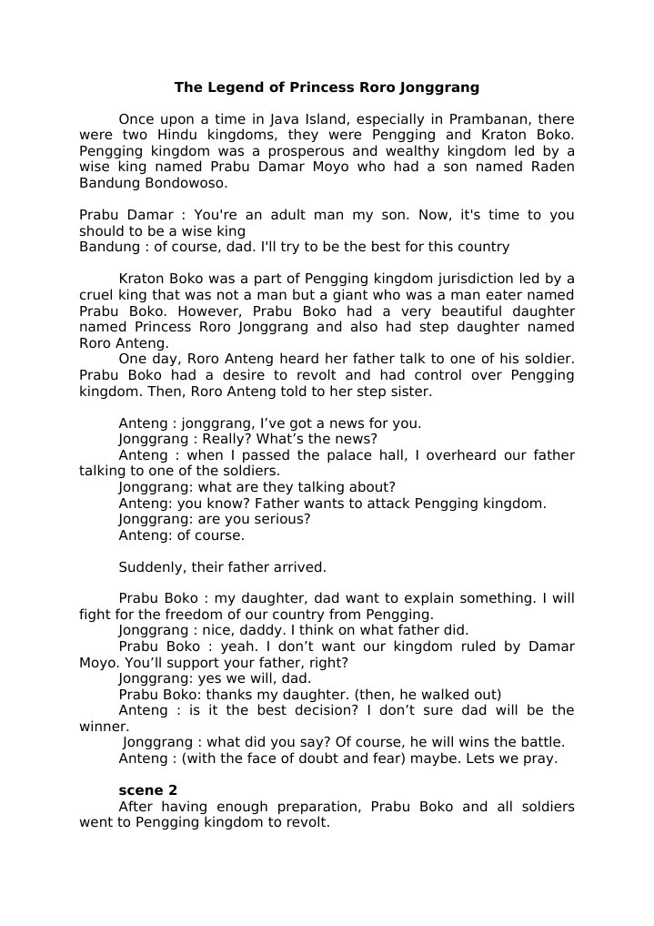 Dialog The Legend Of Princess Roro Jonggrang