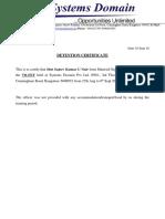 Detension Certificate