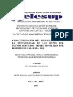 Caracterización Del Financiamiento de La Mypes Del Sector Sercios-rubro Hoteleria Del Distrito de Calleria,2018