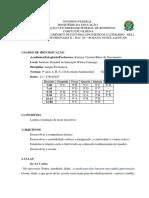 Plano de Aula - Texto Descritivo - 9º Ano - A, B, C, D