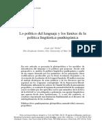 Del Valle. Lo político del lenguaje y los límites de la política lingüística panhispánica