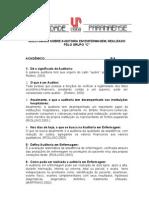 QUESTINÁRIO SOBRE AUDITORIA EM ENFERMAGEM (PROFESSORA)