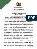 SPEAKER'S COMMUNICATION - REFUSAL TO ASSENT TO FINANCE BILL 2018(1).docx