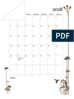 monthly calendar - fall 2018