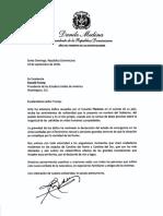 Carta de solidaridad del presidente Danilo Medina a Donald Trump, presidente de los Estados Unidos de América, por pérdidas de vidas humanas y propiedades causadas por el huracán Florence