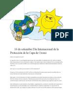 16 de Setiembre Día Internacional de La Protección de La Capa de Ozono